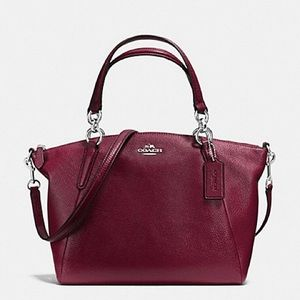 💖Coach Pebble Leather Small Kelsey Burgundy Silve